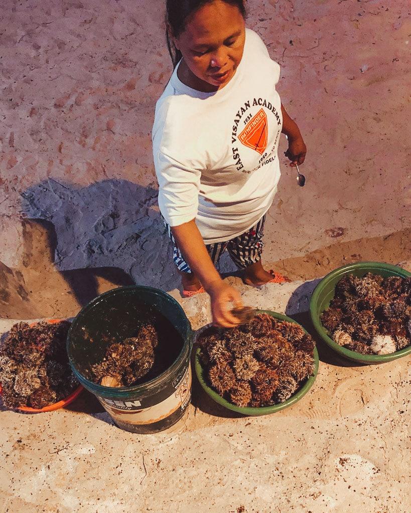 Sea urchin seller